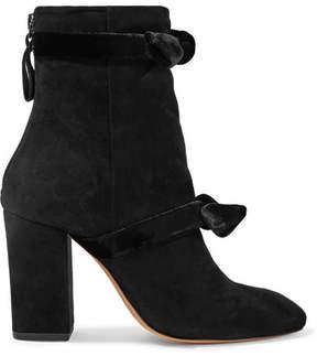 Alexandre Birman Lorraine Velvet-trimmed Suede Ankle Boots - Black