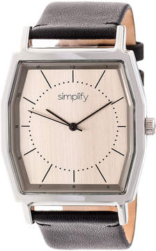 Simplify Silver & Pewter The 5400 Leather-Strap Watch