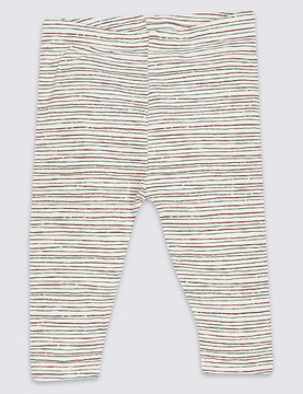 Marks and Spencer Cotton Striped Leggings with Stretch