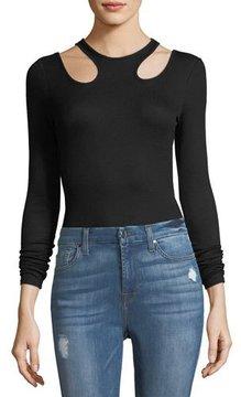 Ella Moss Rhoda Long-Sleeve Bodysuit w/ Cutouts