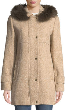 Ellen Tracy Fox-Fur Hooded Tweed Coat