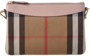Burberry Peyton House Check & Leather Clutch Bag - PINK - STYLE