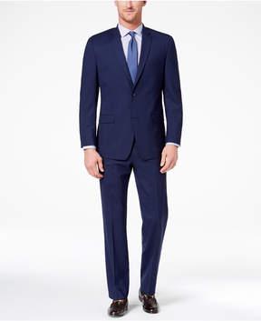 Andrew Marc Men's Classic-Fit Stretch Dark Blue Plaid Suit