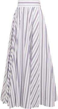 Awake Striped Cotton-poplin Maxi Skirt - White
