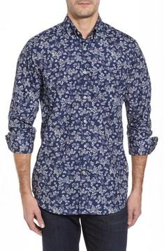Paul & Shark Men's Regular Fit Flower Print Sport Shirt
