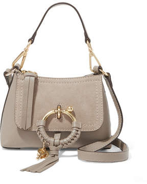 See by Chloe Joan Mini Suede-paneled Textured-leather Shoulder Bag - Gray