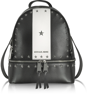 Michael Kors Rhea Zip Medium Black and White Leather Backpack w/Stars - BLACK - STYLE