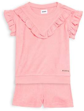Hudson Little Girl's Coral Top and Shorts Set