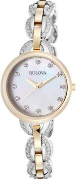 Bulova Watches Womens Facets Mother of Pearl Two-Tone Stainless Steel Watch