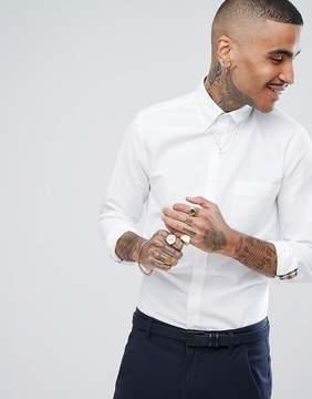 Aquascutum London Bevan Crest Logo Pocket Button Down Oxford Shirt in White