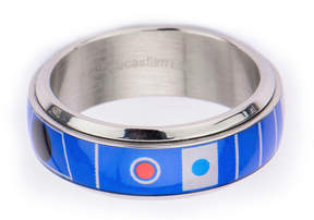 Star Wars FINE JEWELRY Mens Stainless Steel R2D2 Spinner Ring