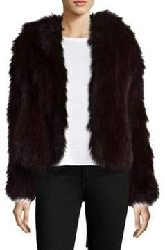 Adrienne Landau Knit Fox Fur Hooded Jacket