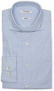 Isaac Mizrahi Blue Textured Slim Fit Dress Shirt