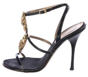 Roberto Cavalli Patent Leather Embellished Sandals