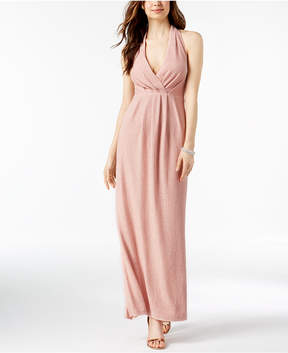 Betsy & Adam Shimmer Pleated Halter Gown