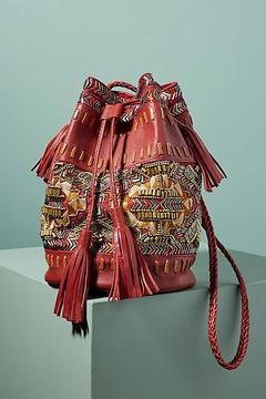 Anthropologie Inko Embroidered Bucket Bag