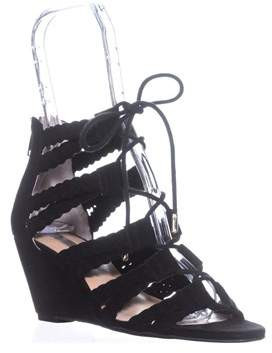 INC International Concepts I35 Witley Lace-up Wedge Sandals, Black.
