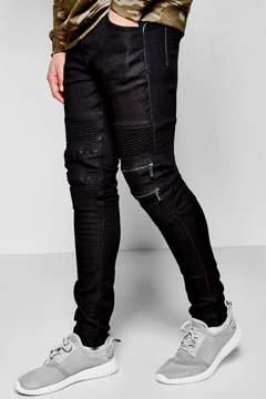 boohoo Super Skinny Fit Biker Jeans With Zipped Knees
