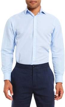Hart Schaffner Marx Long-Sleeve Spread Collar Linen Blend Pattern Block Shirt