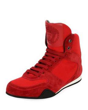 Versace Men's Medusa Mesh & Suede Wrestling Sneakers, Red