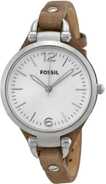 Fossil Georgia Silver Dial Tan Leather Ladies Watch