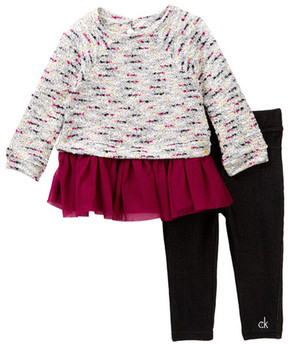 Calvin Klein Boucle Tunic with Tulle Bottom & Jegging Set (Baby Girls)