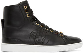 Versace Black Perforated Medusa High-Top Sneakers
