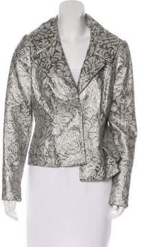 Carmen Marc Valvo Metallic Button-Up Blazer