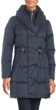 Cole Haan Women's Puffed Shawl-Collar Down Puffer Coat - Rainstorm, Size x-small