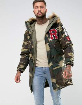 Replay Camo Print Parka Fleece Lined Faux Fur Back Print Patches