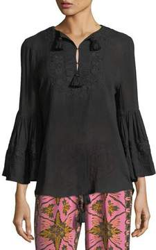 Figue Liza Bell-Sleeve Tonal Embroidered Cotton-Gauze Top