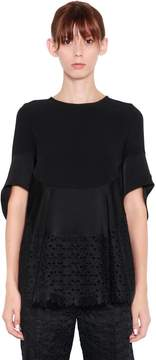 Antonio Berardi Ruffled Eyelet Lace & Satin Top