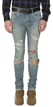 SAINT LAURENT Distressed Straight-Fit Jeans
