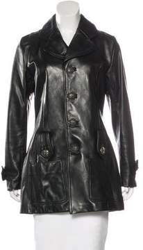Chrome Hearts Leather Notch-Lapel Coat