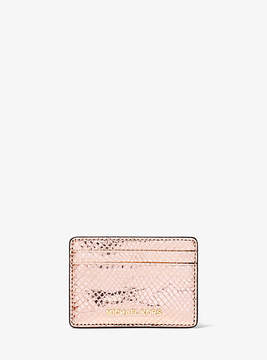 Michael Kors Jet Set Metallic Embossed Leather Card Case - PINK - STYLE