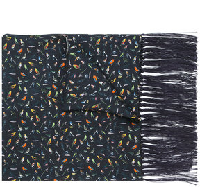 Paul Smith fringed bird print scarf