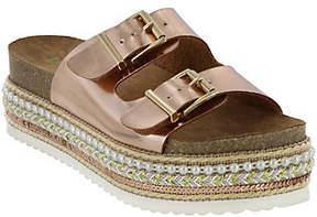 Mia Shoes Flat Slide Sandals - Topaz