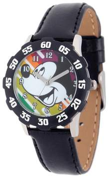 Disney Boys' Mickey Mouse Stainless Steel Case with Bezel Watch - Black