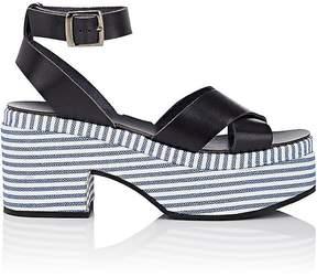 Barneys New York Women's Striped-Platform Leather Crisscross-Strap Sandals