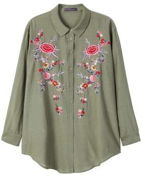 Violeta BY MANGO Embroidered flowers shirt