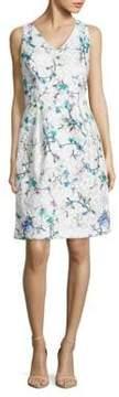David Meister Embroidered Floral Dress