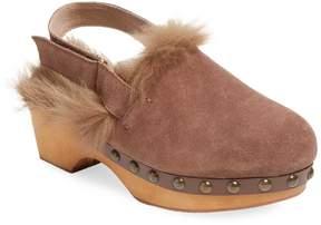 Mou Women's Suede Fur-Trim Clog