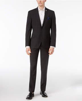 Nick Graham Men's Slim Fit Stretch Charcoal Plaid Suit