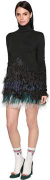 N°21 Stretch Wool Knit & Feathers Dress