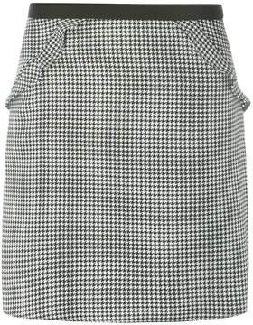 Dorothy Perkins Black Dogtooth Print Ruffle Mini Skirt