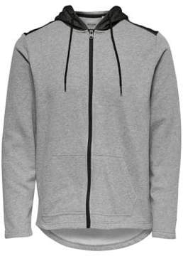 ONLY & SONS Heathered Zip-Front Hoodie