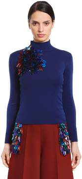 DELPOZO Sequined Merino Wool Knit Sweater