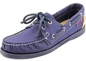 Sebago Spinnaker Women Moc Toe Canvas Blue Boat Shoe.