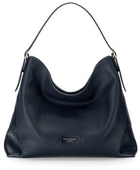 Aspinal of London Hobo Bag In Navy Pebble Smooth Navy