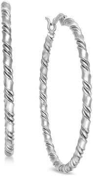 Essentials Medium Silver Plated Twisted Hoop Earrings